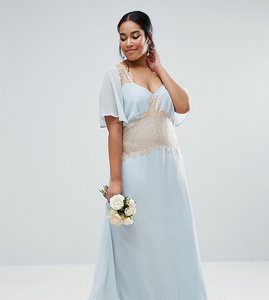 Read more about Asos curve wedding contrast lace panel maxi dress - blue