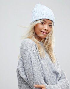 Read more about Brave soul cardigan twist colour hat with knitted pom pom in blue - blue white