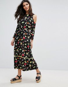 Read more about Warehouse cold shoulder floral midi dress - black print