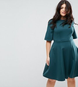 Read more about Closet london plus kimono sleeve skater dress - teal