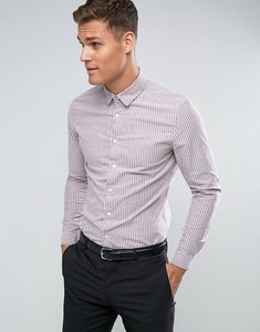 Read more about Asos smart stretch slim oxford stripe shirt in burgundy - burgundy