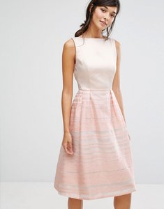 Read more about Oasis organza stripe midi skater dress - multi
