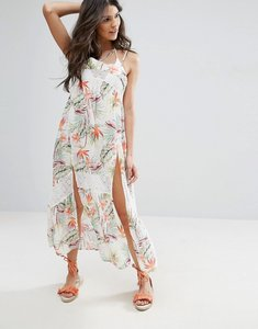 Read more about Minkpink leaf print maxi beach dress with side split in palm print - multi