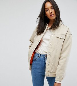 Read more about Asos tall denim wadded jacket in stone - stone