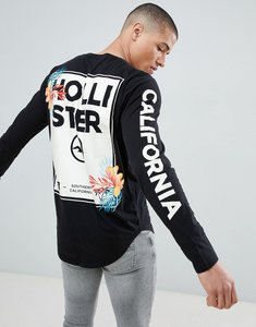 Read more about Hollister colour change floral logo long sleeve top in black - black