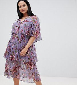 Read more about Asos design curve soft pleated tiered midi dress in lilac floral