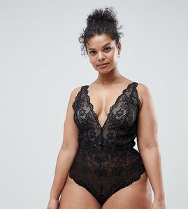 Read more about Asos curve blair high leg lace body with lace up back - black