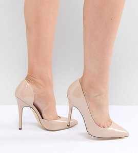 Read more about London rebel wide fit pointed high heels - beige patent