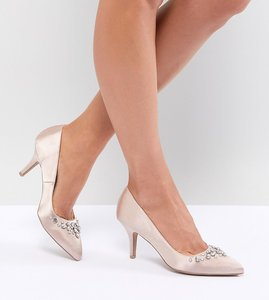 Read more about Qupid bridal embellished pointed heels - beige satin