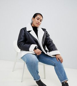 Read more about Urban bliss plus leather look jacket with faux fur internal - black