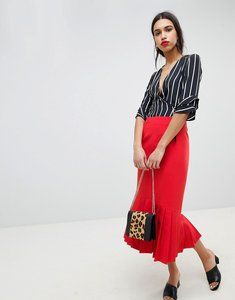 Read more about Lost ink midi pencil skirt with pleated hem - red