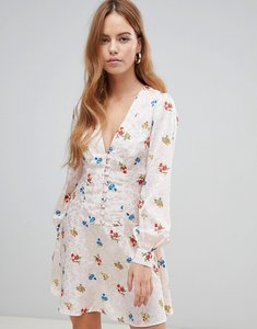 Read more about Asos design button through mini tea dress with long sleeves in floral jacquard - multi