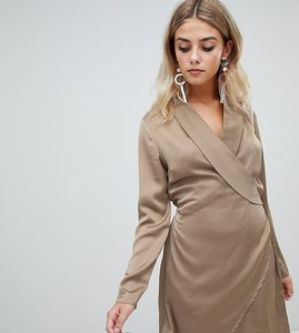 Read more about Missguided satin wrap dress in khaki