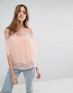 Read more about Miss selfridge crochet bardot top - orange