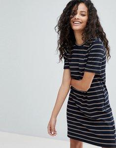 Read more about Bershka short sleeve stripe mini dress - black
