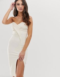 Read more about Vesper bandeau midi dress with thigh split in stone