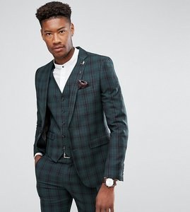 Read more about Harry brown tall skinny tartan suit jacket - green