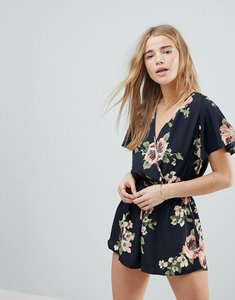 Read more about Band of gypsies large floral playsuit - black coral
