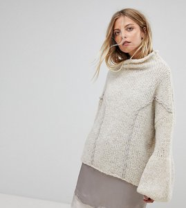 Read more about Oneon hand knitted soft cable jumper - nude