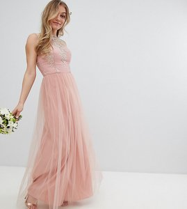 Read more about Chi chi london petite sleeveless maxi dress with premium lace and tulle skirt - vintage rose gold
