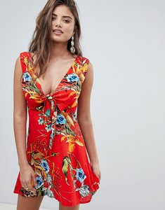 Read more about Prettylittlething tropical plunge mini dress - orange