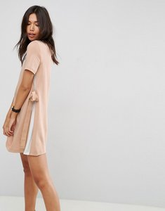 Read more about Asos shift dress with contrast sides and belt detail - camel ivory
