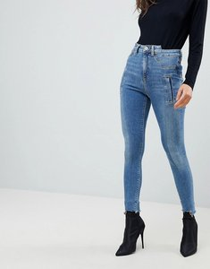 Read more about Asos ridley high waist skinny jeans with deconstructed styling in bennu vintage mid wash - mid wash
