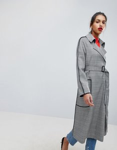 Read more about Asos checked mac with contrast piping - mono