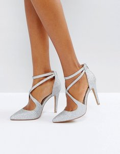 Read more about Head over heels cassy silver heeled shoes - silver glitter