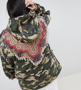 Read more about Asos design curve camo embellished parka - khaki
