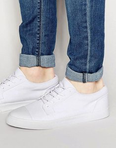 Read more about Asos lace up plimsolls in white with toe cap - white
