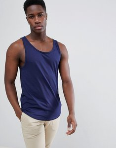 Read more about Esprit longline vest with raw curved hem - navy 400
