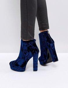 Read more about Aldo kasser velvet platform boots - blue velvet