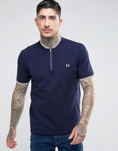 Read more about Fred perry slim fit polo with bomber neck zip in navy - carbon blue