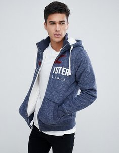 Read more about Hollister borg lined logo full zip hoodie in navy - navy