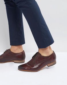 Read more about Asos lace up derby shoes in brown leather with natural sole - brown