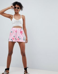 Read more about Asos design culotte shorts in tropical floral print - pink floral
