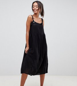 Read more about Asos design tall casual smock midi sundress in grid texture with knot tie - black