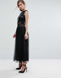 Read more about Little mistress allover sequin midi skirt with mesh tulle overlay - black