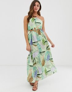 Read more about Asos design halter neck cut out maxi dress with trim detail in tropical print