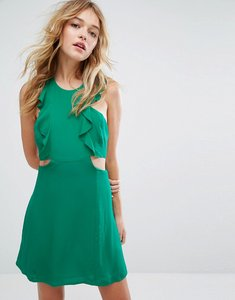 Read more about Bershka frill and cut out side tea dress - green