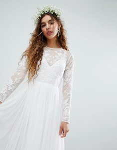 Read more about Asos edition embroidered bodice wedding maxi dress - white