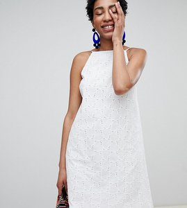 Read more about Asos design tall low back mini sundress in heart broderie - white
