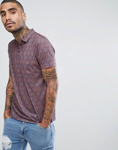 Read more about Asos polo shirt in all over retro print - burgundy