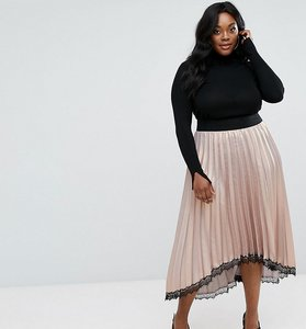 Read more about Elvi premium shimmer pleated dip hem skirt with lace detail - nude