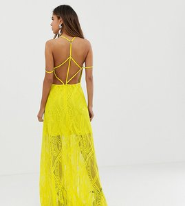 Read more about Asos design maxi dress in lace cutwork with strappy back and metal ring detail