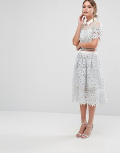 Read more about Chi chi london premium lace skirt co-ord - grey