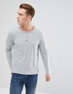 Read more about Esprit long sleeve t-shirt with henley neck in grey - 035