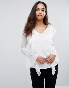 Read more about Club l shirt with ruffle front - white