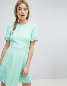 Read more about Asos lace insert mini skater dress - mint